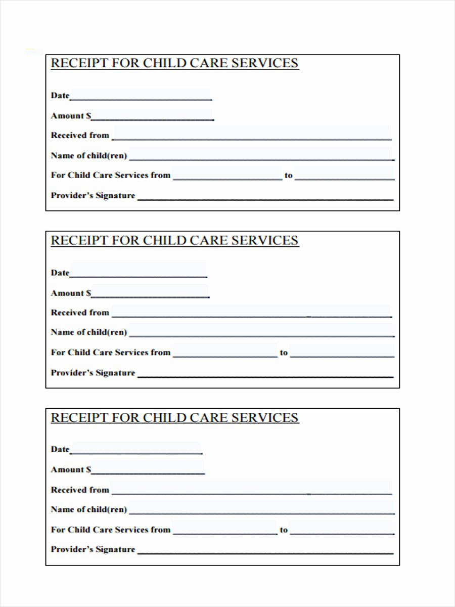 Child Care Receipt Template Awesome 6 Service Receipt forms Free Samples Examples format