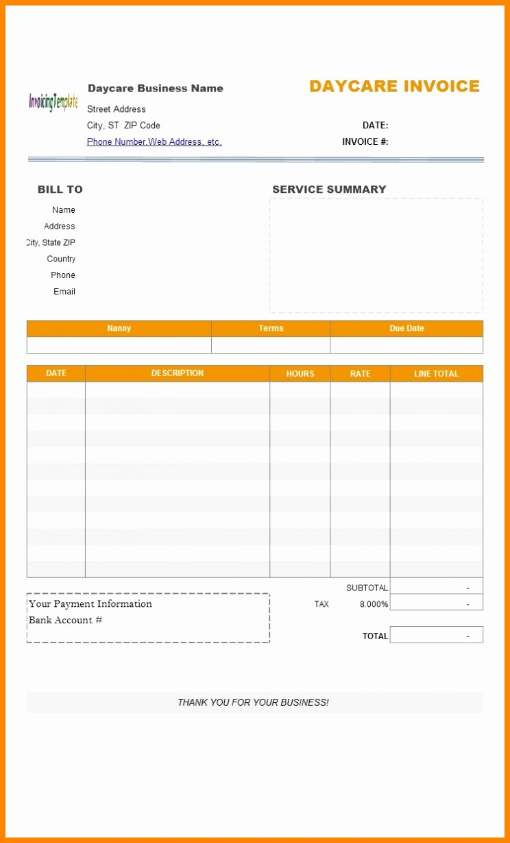 Child Care Receipt Template Beautiful Child Care Invoice Template Excel Word Receipt Example