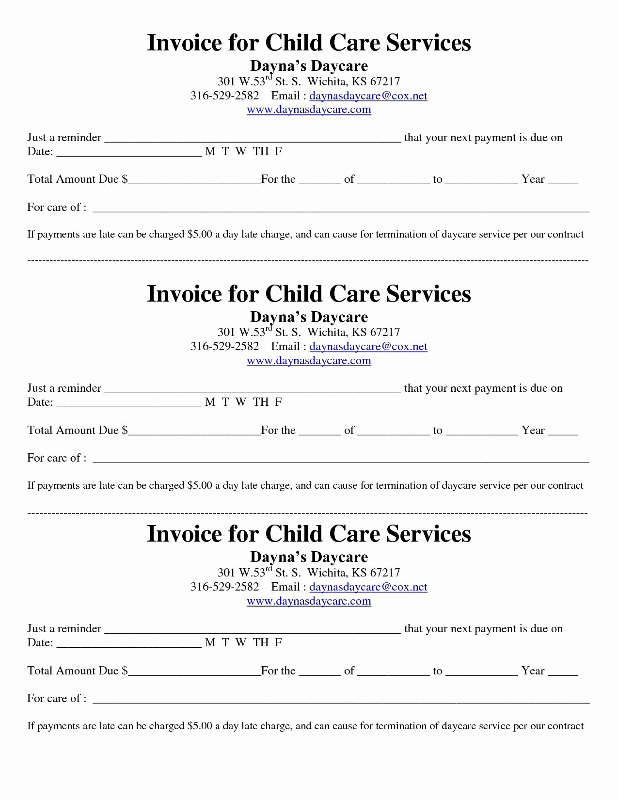 Child Care Receipt Template Lovely Child Care Receipt Invoice
