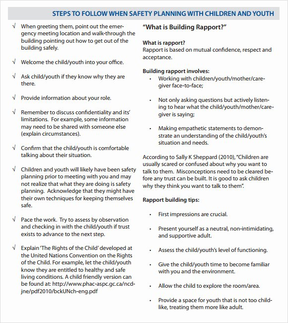 Child Safety Plan Template Unique What is Non Perishable Food Family Safety Plan Template