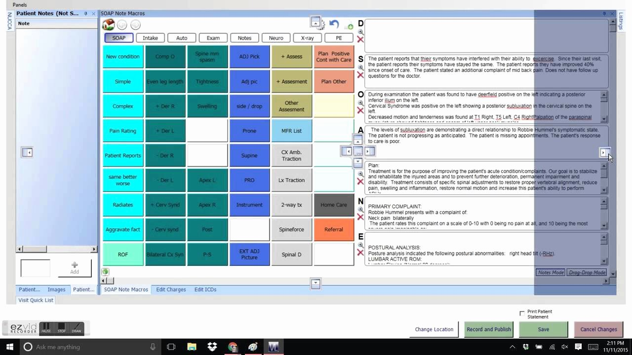 Chiropractic soap Note Example Lovely Vitalogics Chiropractic software In Visit Window and soap