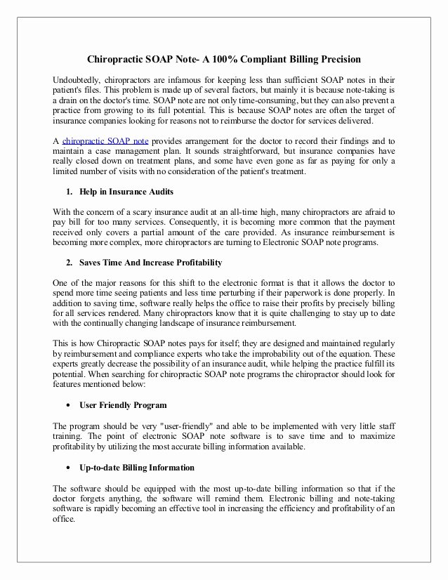 Chiropractic soap Notes Template Free Fresh Chiropractic soap Note A Pliant Billing Precision