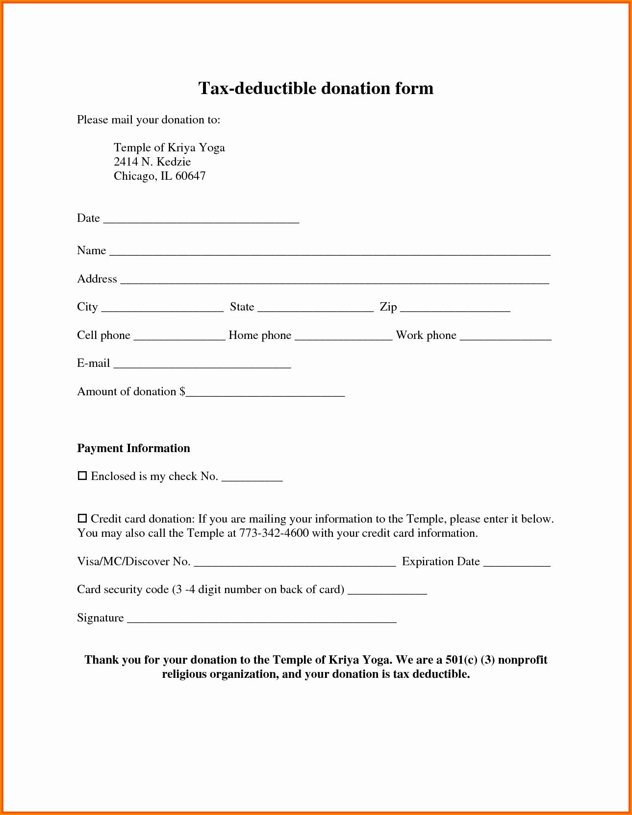 Church Donation Receipt Template Fresh 8 Tax Deductible Donation Receipt Template