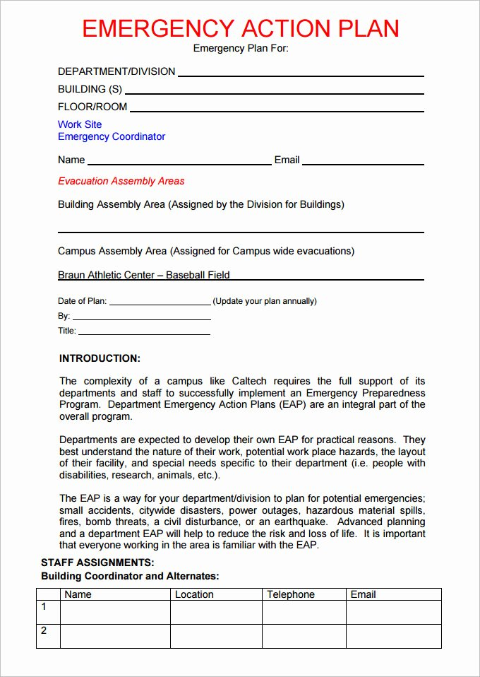 Church Emergency Action Plan Template Best Of Emergency Action Plan Template Diving Templates Resume