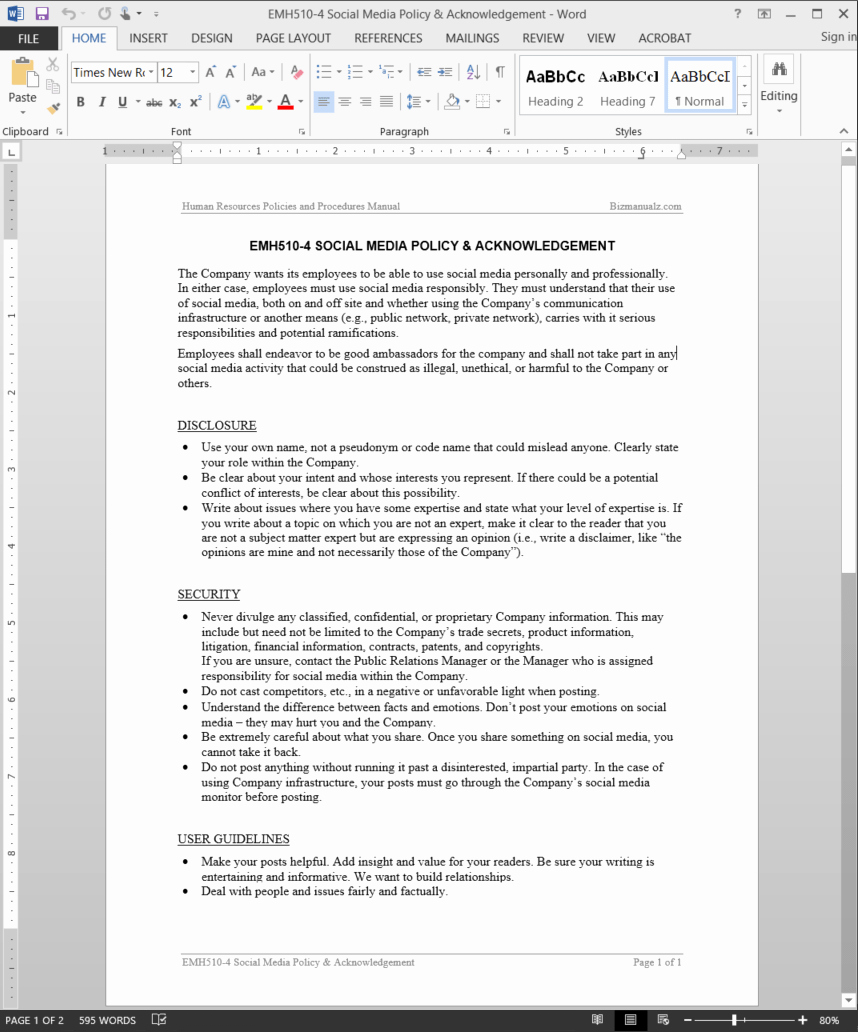 Church Security Plan Template Inspirational Employee social Media Policy & Acknowledgement Template