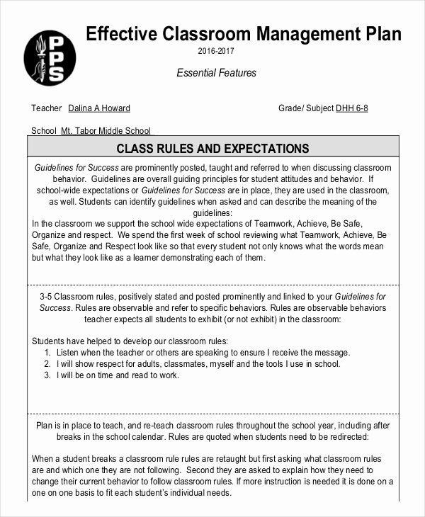 Classroom Management Plan Template Awesome 11 Classroom Management Plan Templates Free Pdf Word