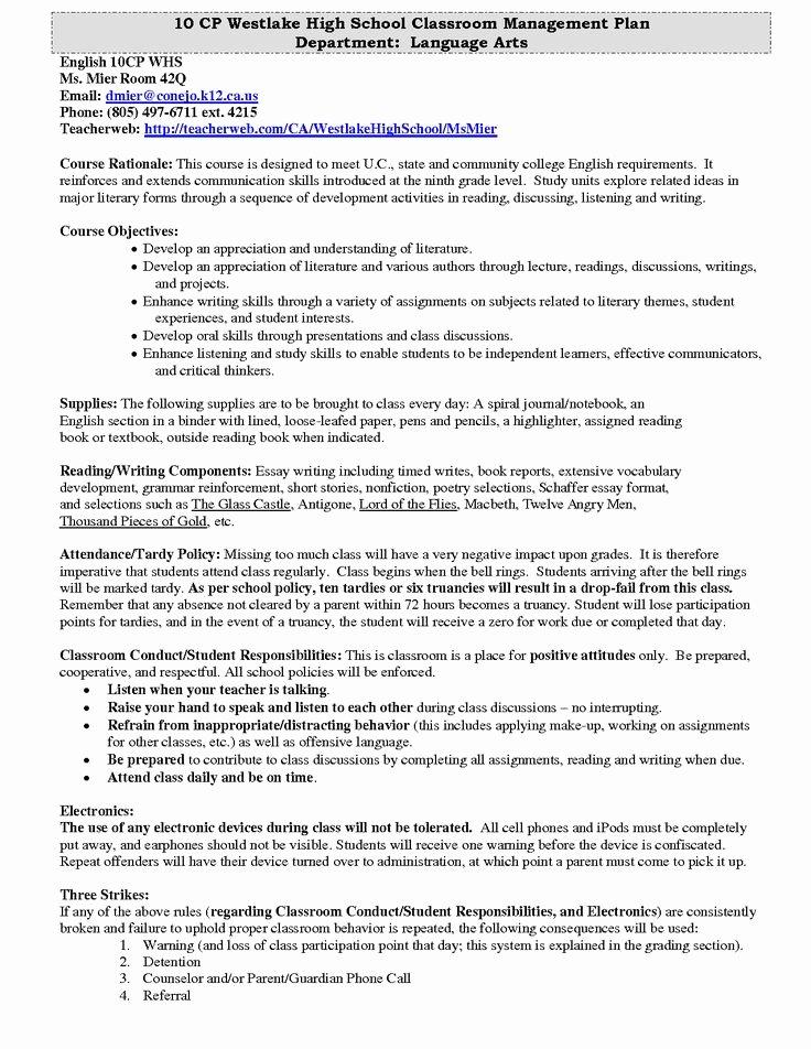 Classroom Management Plan Template Elegant Westlake High School Classroom Management Plan
