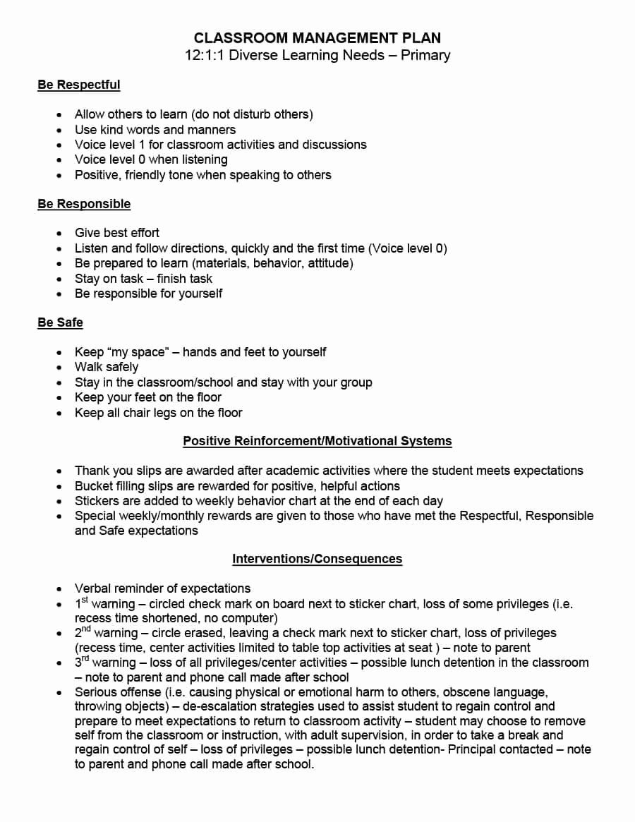 Classroom Management Plan Template Elementary Inspirational Classroom Management Plan 38 Templates & Examples