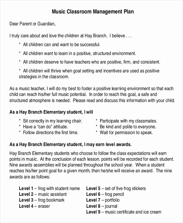 Classroom Management Plan Template Elementary Luxury 11 Classroom Management Plan Templates Free Pdf Word