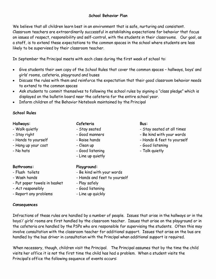 Classroom Management Plan Template Elementary New School Wide Examples Discipline Plan Classroom