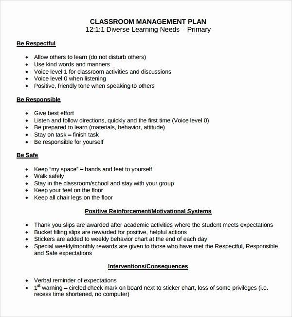 Classroom Management Plan Template Fresh Classroom Management Plan Template Beepmunk