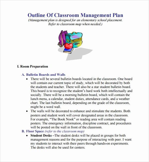 Classroom Management Plan Template Fresh Sample Classroom Management Plan Template 9 Free
