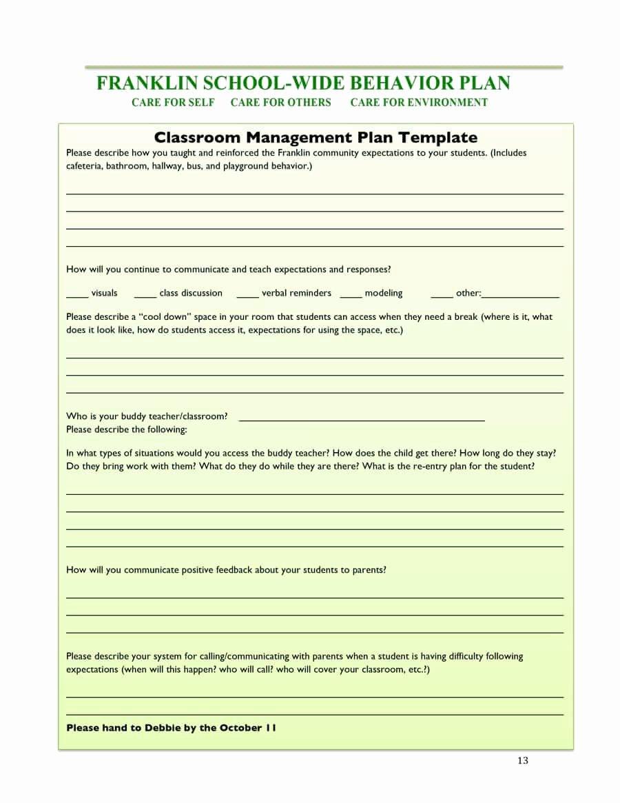 Classroom Management Plan Template Inspirational Classroom Management Plan 38 Templates & Examples