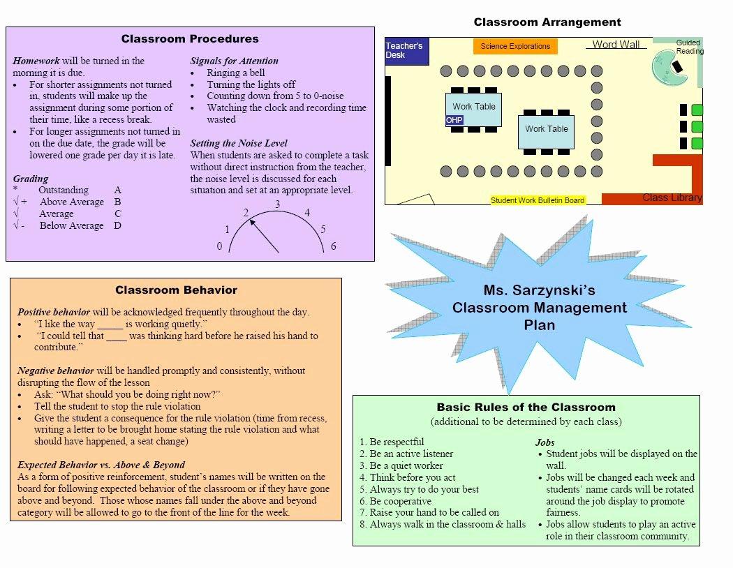 Classroom Management Plan Template Luxury Classroom Management Plan Template Google Search