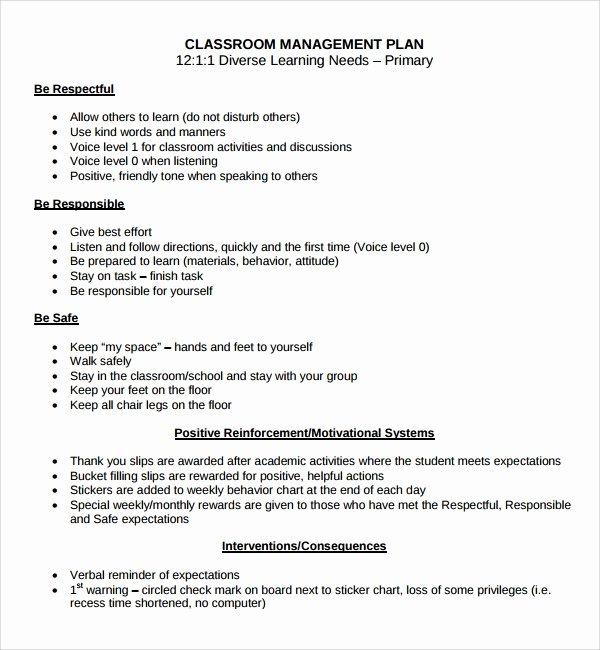Classroom Management Plan Template New Sample Classroom Management Plan Template 9 Free