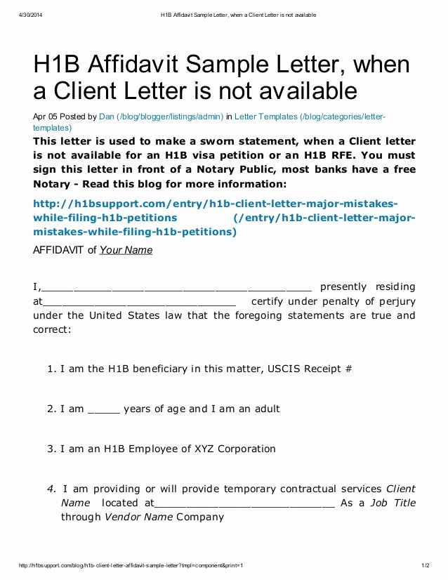 Client Letter format for H1b Lovely H1 B Affidavit Sample Letter when A Client Letter is Not