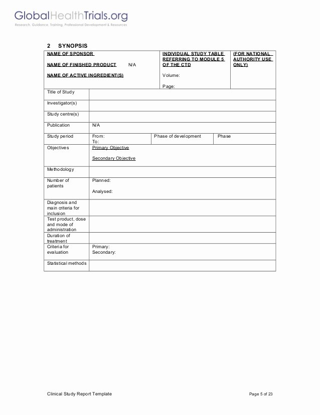Clinical Development Plan Template Best Of Clinical Study Report Template Ght