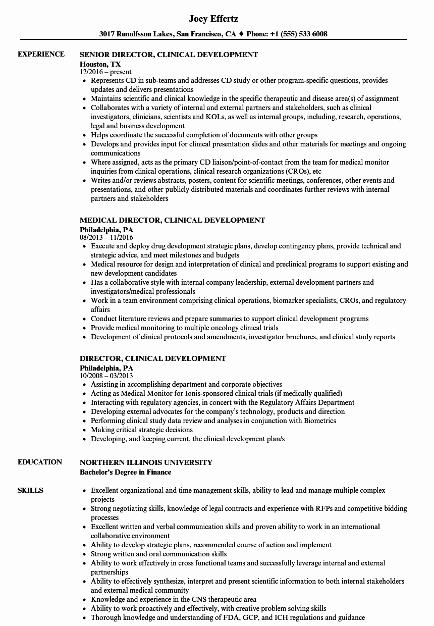 Clinical Development Plan Template Inspirational Director Clinical Development Resume Samples