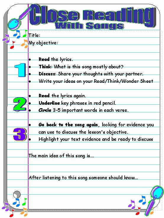 Close Reading Lesson Plan Template Awesome Use Popular Music to Improve Reading and Inspire Writing