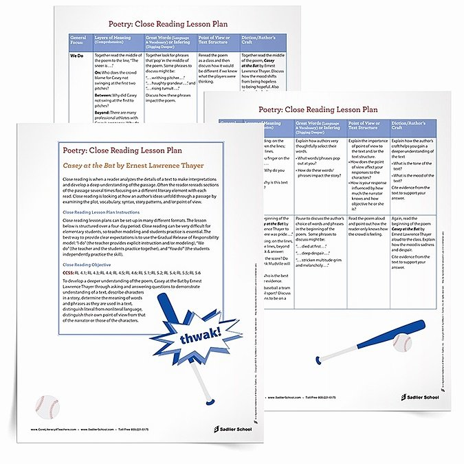 Close Reading Lesson Plan Template Inspirational Baseball Lesson Plans – Close Reading Read Alouds