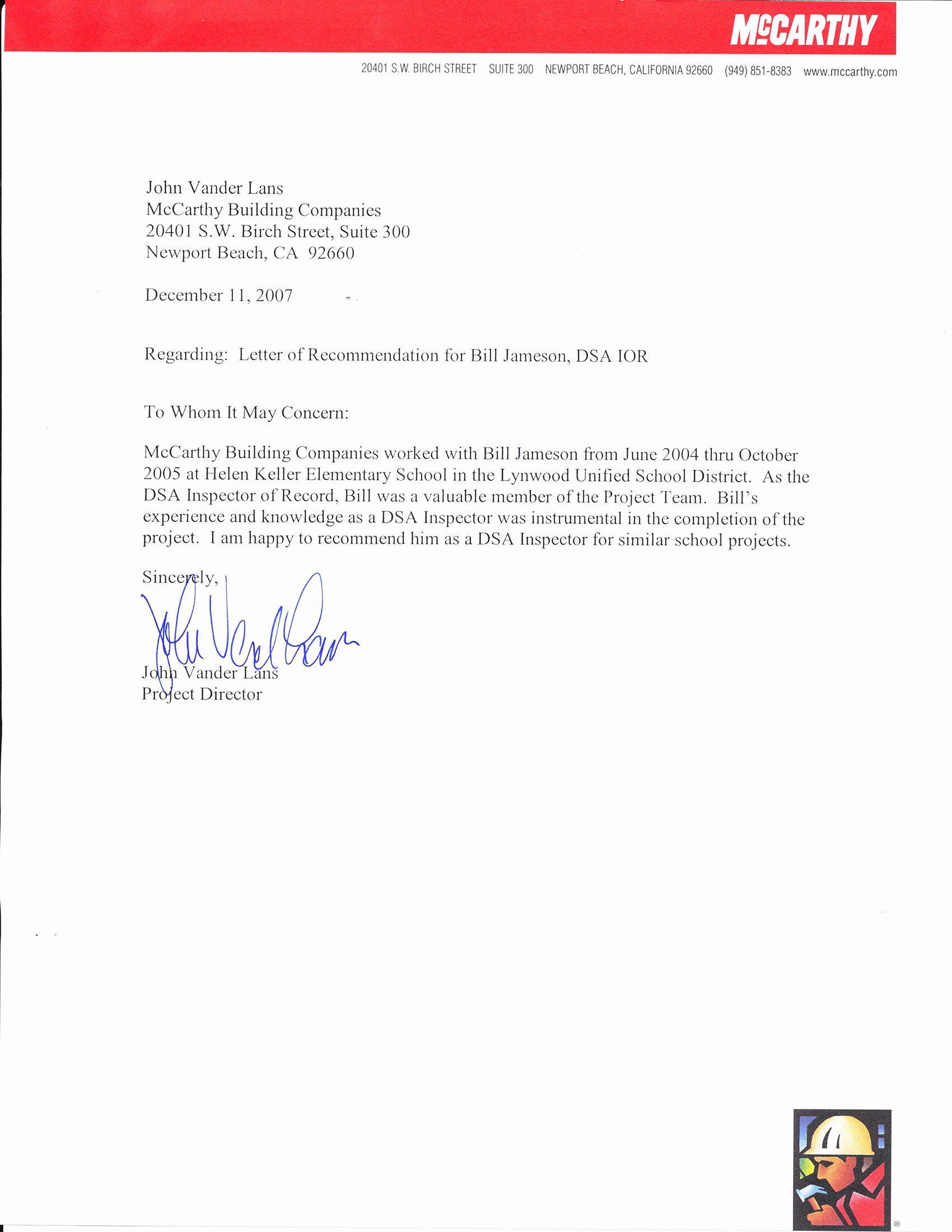 Closing A Letter Of Recommendation Awesome Independent Construction Inspection – Mccarthy Buildings