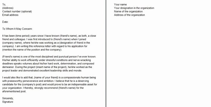 Closing A Letter Of Recommendation Unique 40 Awesome Personal Character Reference Letter