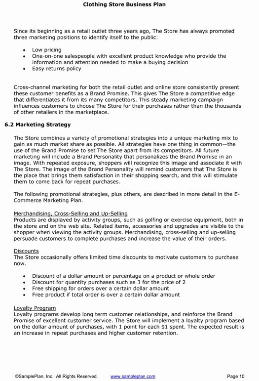 Clothing Line Business Plan Template Best Of Retail Clothing Business Plan Template – Business Plan for