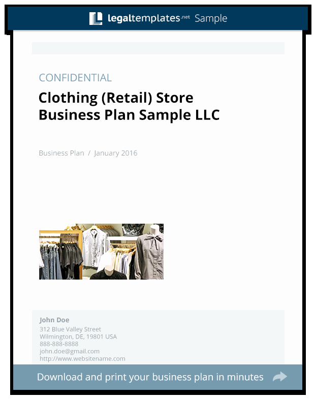 Clothing Line Business Plan Template Luxury Clothing Retail Store Business Plan Sample