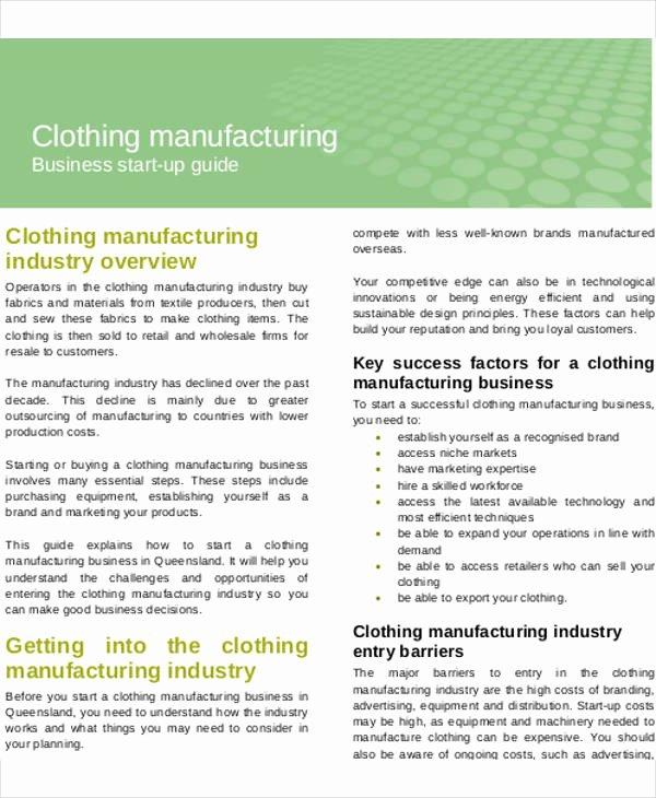 Clothing Line Business Plan Template Unique Manufacturing Business Plan Templates 13 Free Word Pdf
