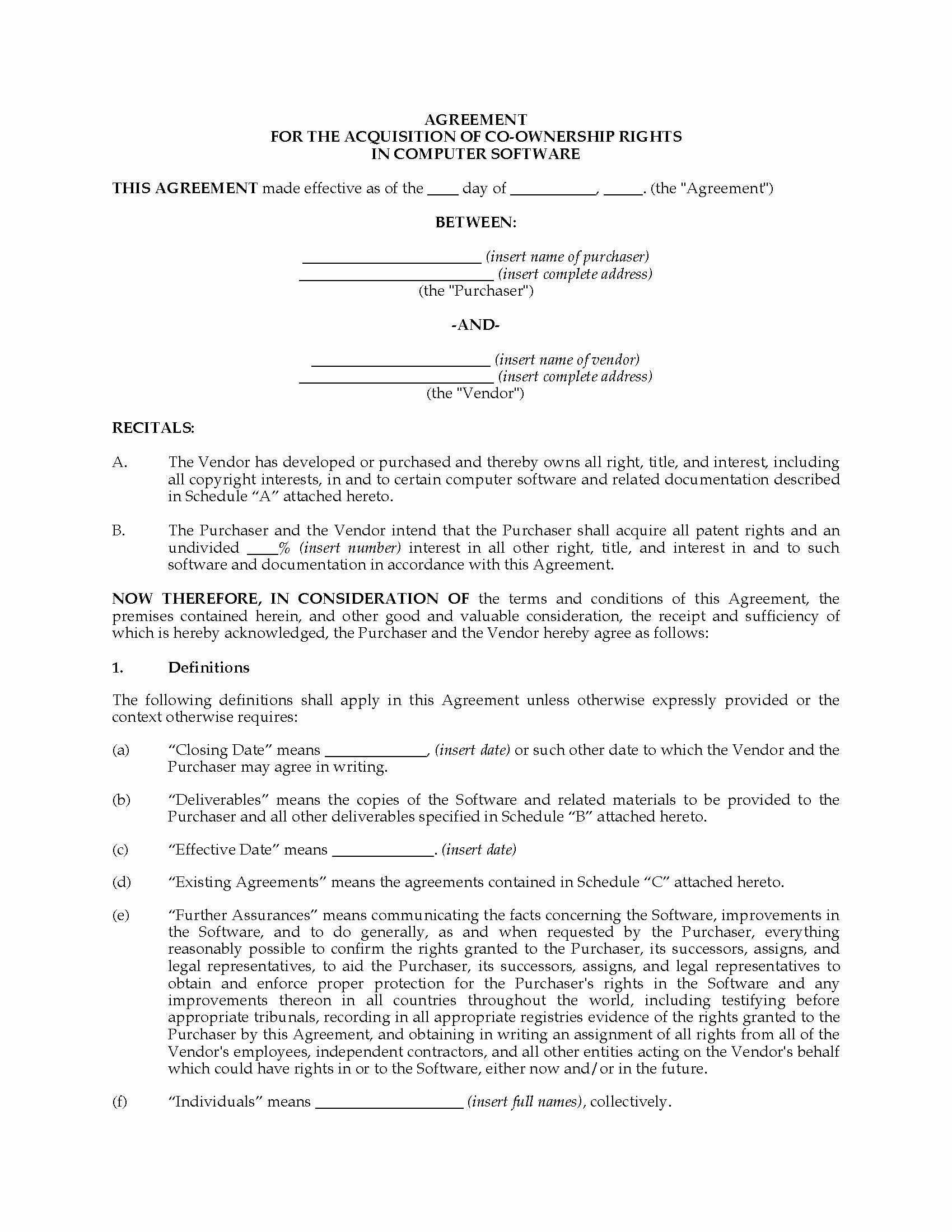 Co-ownership Agreement Real Estate Template Best Of Canada Acquisition Agreement for Joint Ownership Of