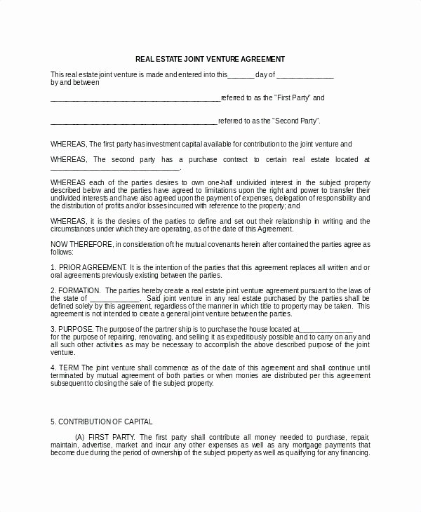 Co-ownership Agreement Real Estate Template Elegant Co Ownership Agreement Template Unique Joint Tenancy