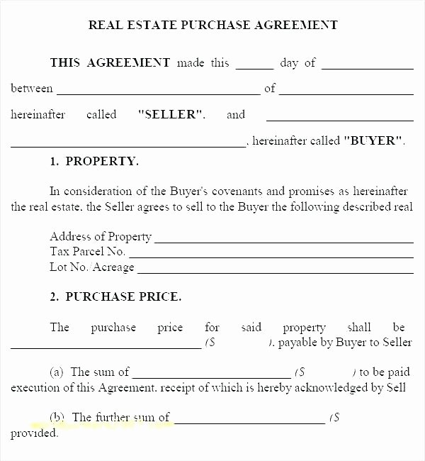 Co-ownership Agreement Real Estate Template Elegant Property Purchase Contract Template Property Purchase