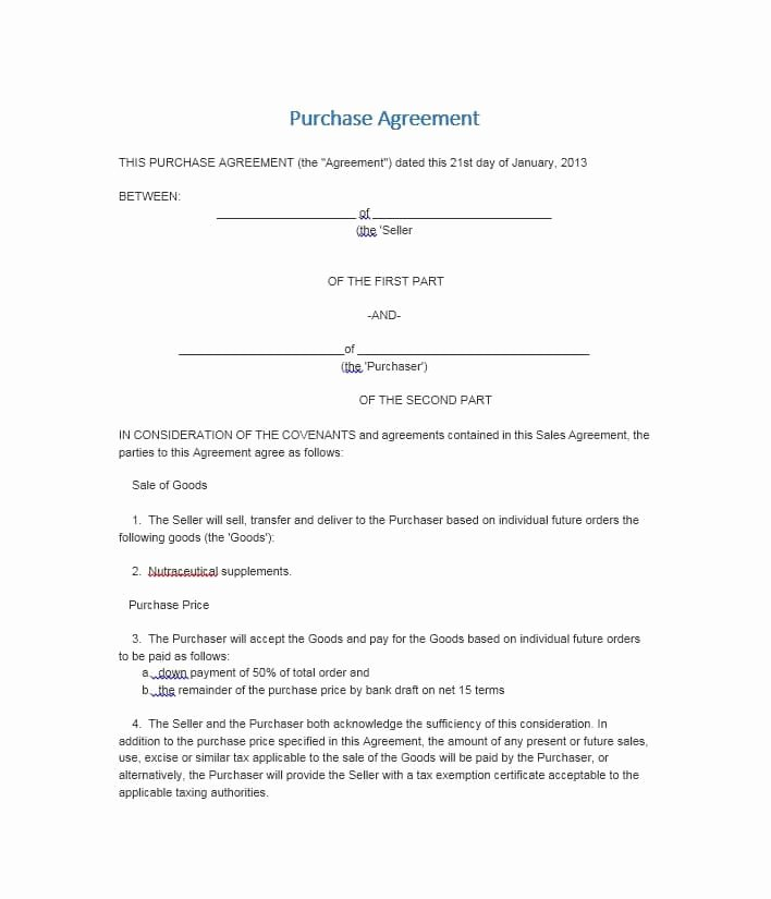 Co Ownership Agreement Real Estate Template Fresh Simple Land Purchase Agreement form