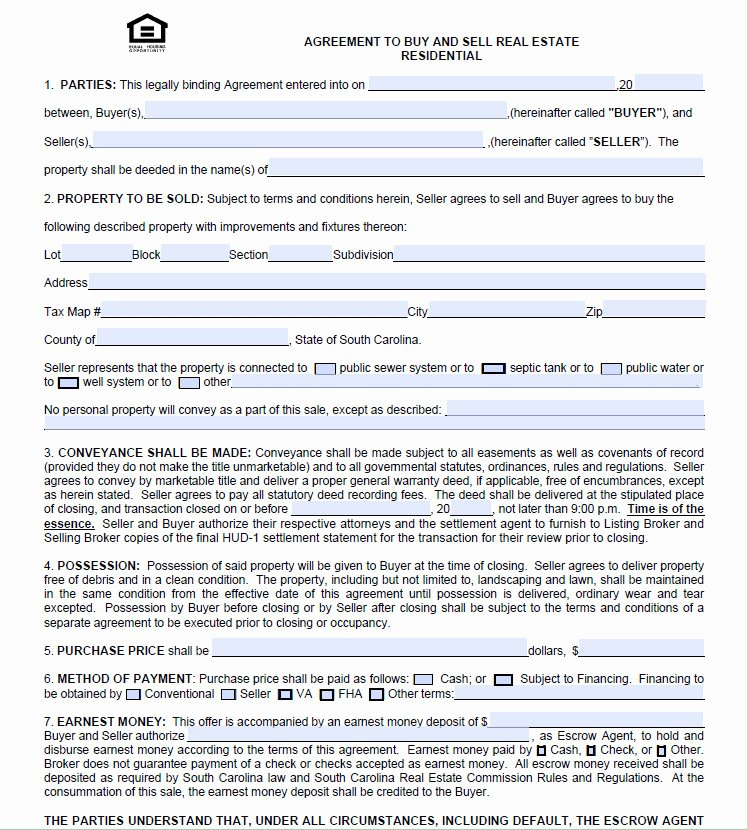 Co Ownership Agreement Real Estate Template Lovely for Sale by Owner Purchase Agreement