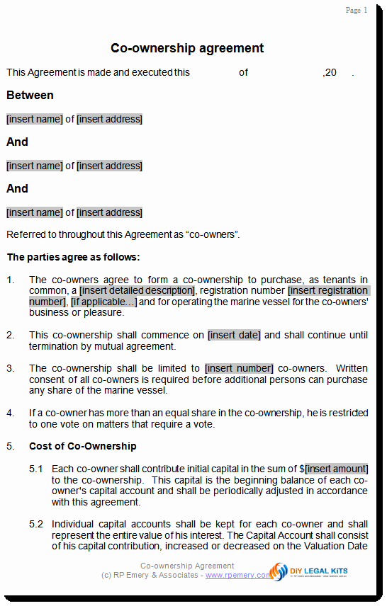 Co-ownership Agreement Real Estate Template Unique Co Ownership Agreement for Aircraft or Boat or Marine Vessel