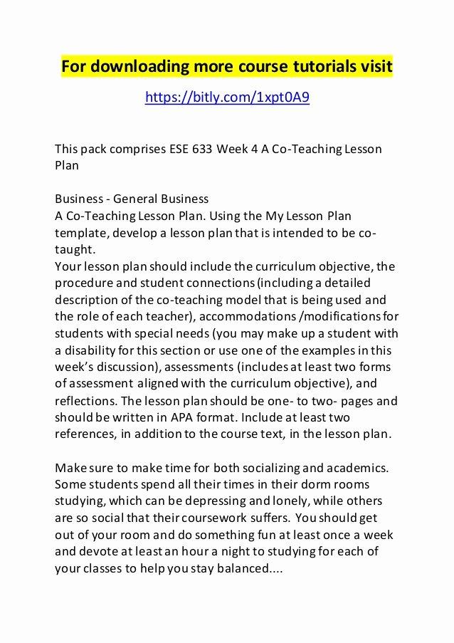 Co Teaching Lesson Plan Template Unique Ese 633 Week 4 A Co Teaching Lesson Plan