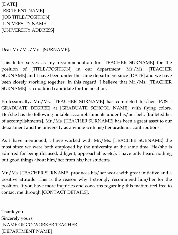 Co Worker Letter Of Recommendation Awesome Letter Of Re Mendation for Co Worker 18 Sample Letters