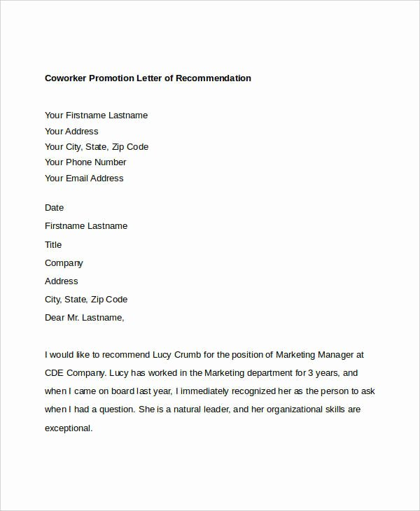 Co Worker Letter Of Recommendation Beautiful Coworker Re Mendation Letter 10 Free Word Pdf