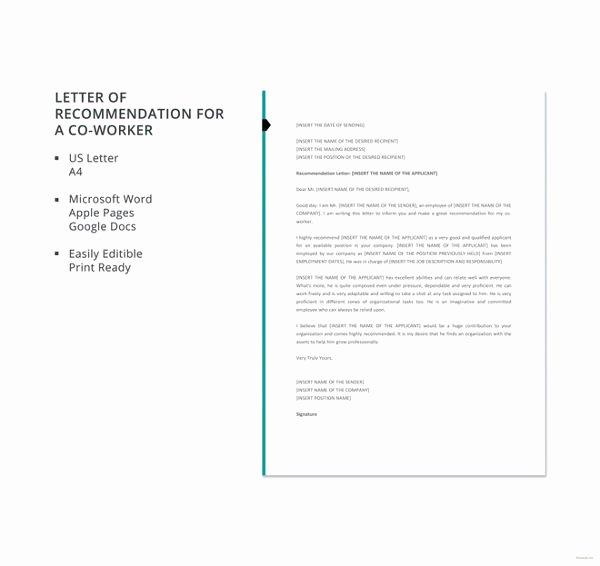Co Worker Letter Of Recommendation Elegant Coworker Re Mendation Letter 10 Free Word Pdf
