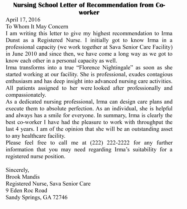 Co Worker Letter Of Recommendation Lovely Letter Of Re Mendation for Co Worker 18 Sample Letters