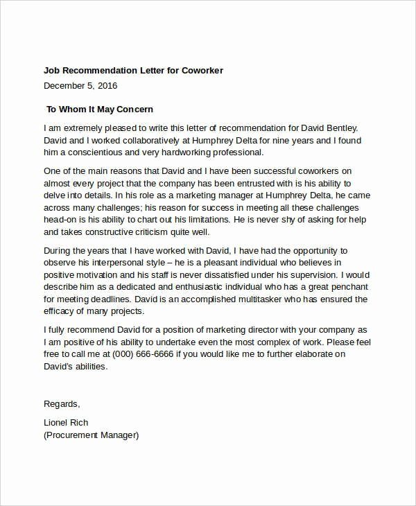 Co Worker Letter Of Recommendation New Letter Re Mendation for Coworker