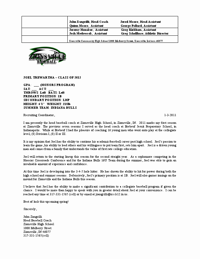 Coaches Letter Of Recommendation Samples Awesome Coach Zangrilli S Letter Of Re Mendation Joel Trewartha