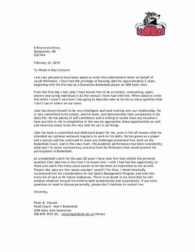 Coaches Letter Of Recommendation Samples Inspirational Reference Letter for Jacob Weinstein