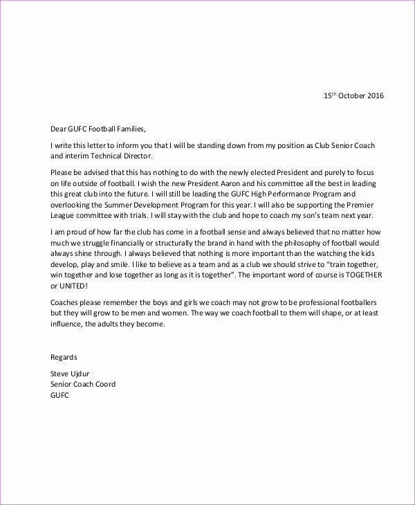 Coaches Letter Of Recommendation Samples Unique 8 Coach Resignation Letters Free Sample Example format