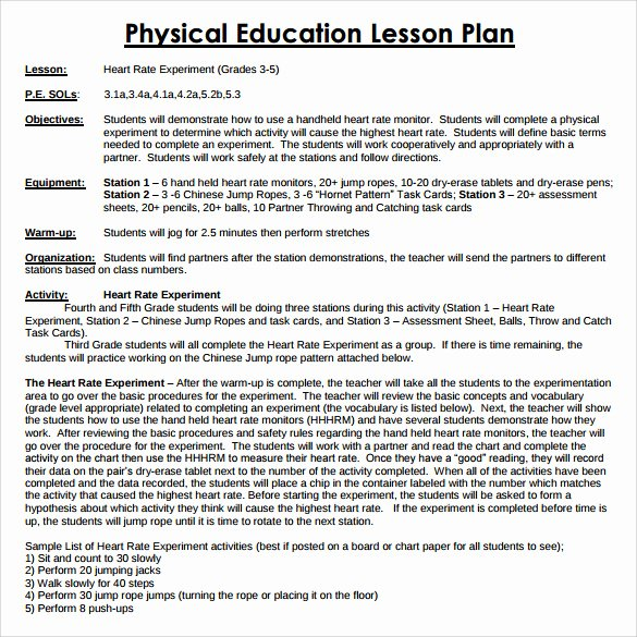 Coe Lesson Plan Template Awesome 15 Sample Physical Education Lesson Plans