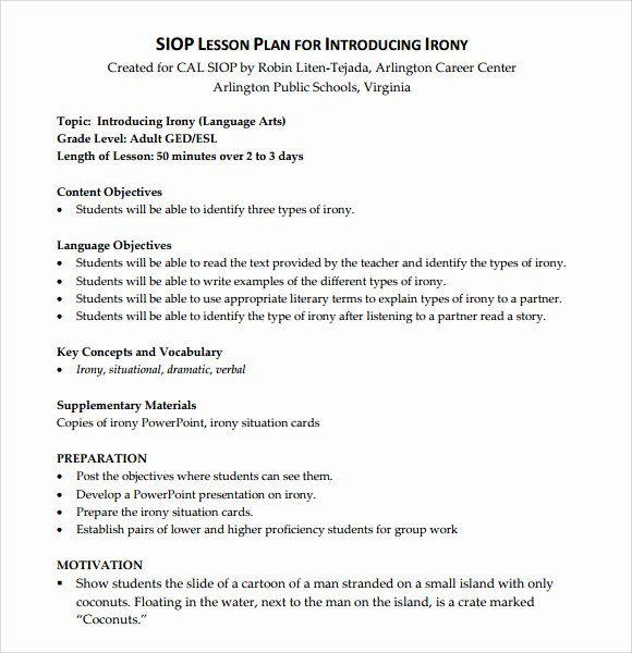 Coe Lesson Plan Template Elegant Sample Siop Lesson Plan 9 Documents In Pdf Word