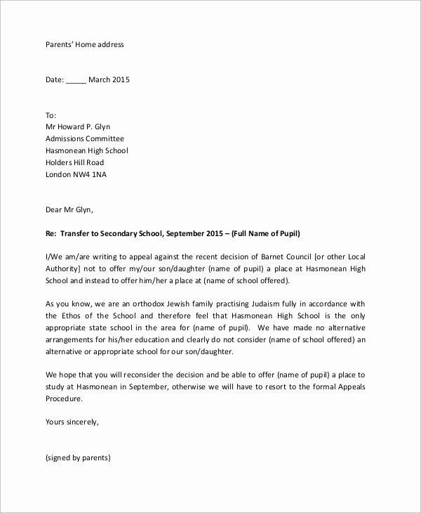College Appeal Letter format Beautiful 10 Appeal Letter Samples – Pdf Word