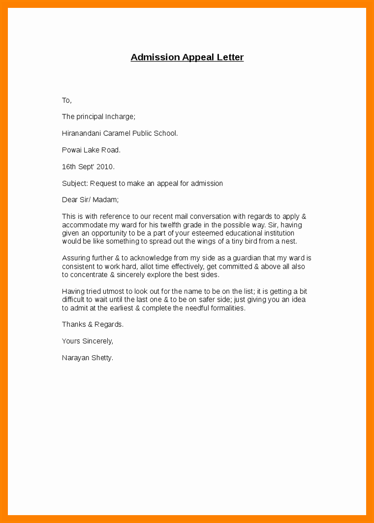 College Appeal Letter format Best Of 5 Appeal Letter for School Admission Sample