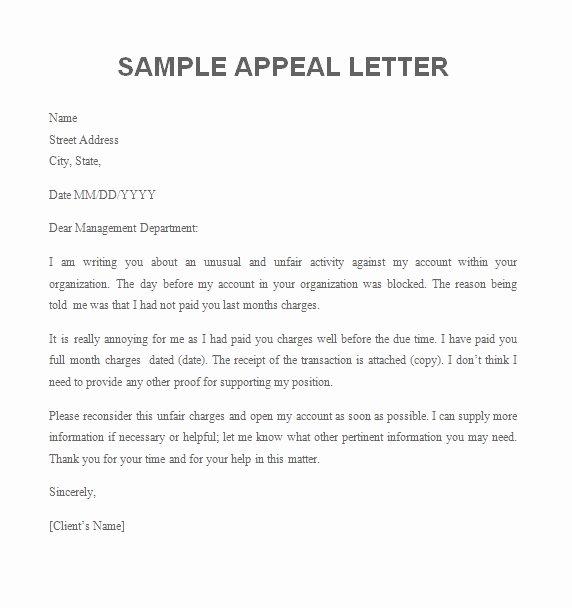 College Appeal Letter format Inspirational Appeal Letter Free Sample Letters