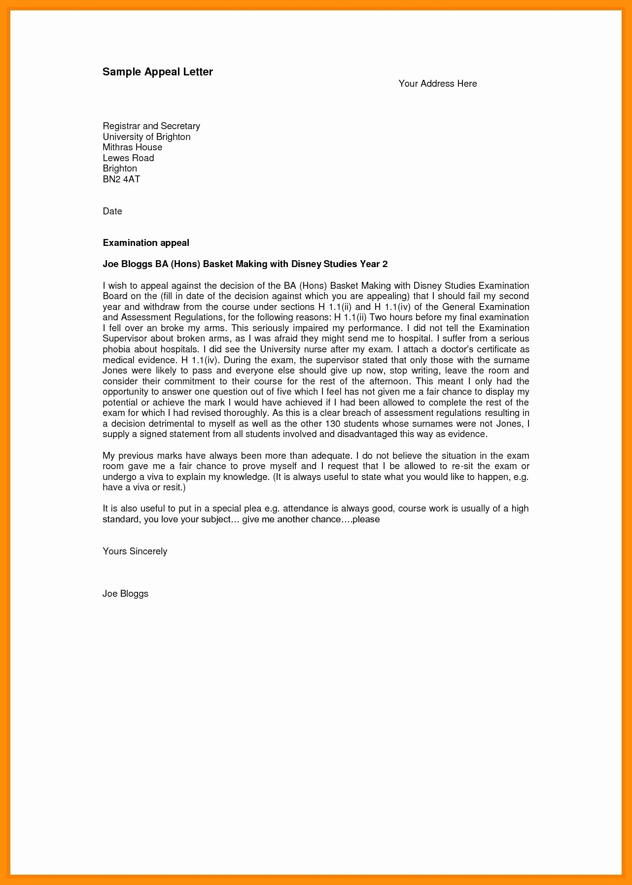 College Appeal Letter format Inspirational University Appeal Letter for Admission Sample Exclusion